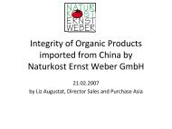 Integrity of Organic Products imported from China by ... - ifoam