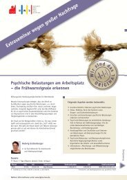 Psychische Belastungen am Arbeitsplatz - IG BCE BWS GmbH