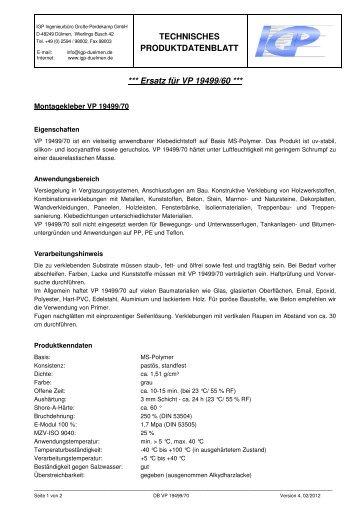Produktdatenblatt - IGP GmbH