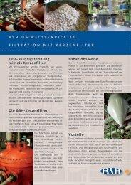BSH Umweltservice Ag Filtration mit Kerzenfilter Fest ...