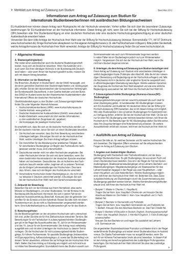 Merkblatt zum Antrag auf Zulassung zum Studium - DAAD