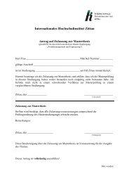 Antrag auf Zulassung zur Masterthesis - IHI Zittau