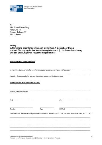 Antrag Versicherungsvermittler juristische Person - IHK Bonn/Rhein ...