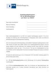 Ausbildungsbegleitschein für die ... - IHK Niederbayern