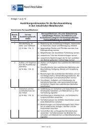 Ausbildungsrahmenplan - und Handelskammer Nord Westfalen