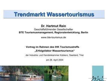 Trendmarkt Wassertourismus - Dr.  Hartmut Rein - IHK Trier