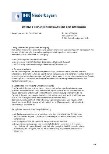 Errichtung einer Zweigniederlassung oder einer ...  - IHK Niederbayern