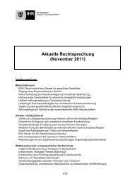 Aktuelle Rechtsprechung (November 2011)