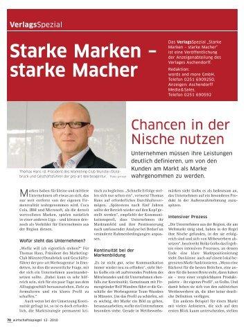 Starke Marken – starke Macher - und Handelskammer Nord Westfalen