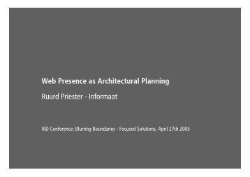 Web Presence as Architectural Planning Ruurd Priester - Informaat