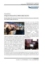 Erfolgreicher Messeauftritt zur WIRE & CABLE India  2012 - iiM AG