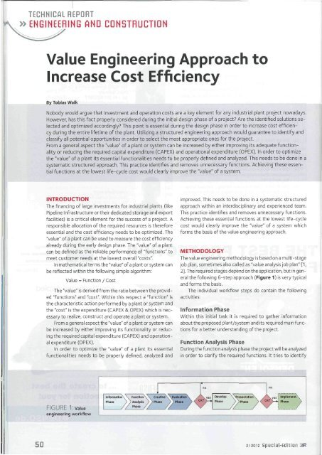 Value Engineering Approach to Increase Cost Efficiency