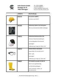 Übersicht Persönliche Schutzausrüstung PSA - ILKA-Chemie GmbH