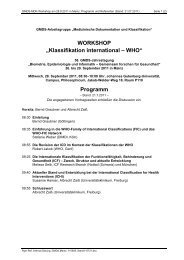 "WORKSHOP ""Klassifikation international – WHO"" Programm - IMBEI"