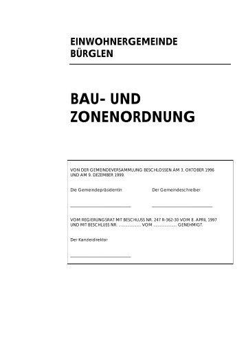 EINWOHNERGEMEINDE BÜRGLEN BAU- UND ZONENORDNUNG