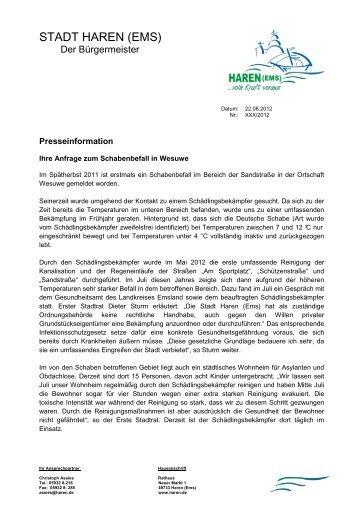 22.08.2012 - Stellungnahme der Stadt Haren (Ems)