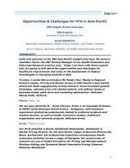 Opportunities & Challenges for HTA in Asia-Pacific ... - IMS Health