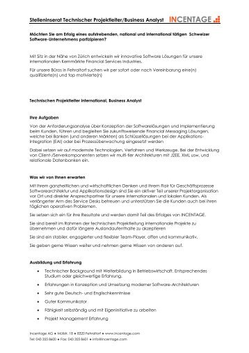 Stelleninserat Technischer Projektleiter/Business Analyst - Incentage