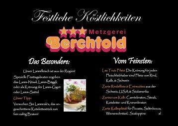 Das Besondere: Vom Feinsten: - Metzgerei Berchtold - Schweiz