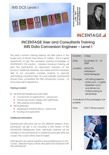 information about the IMS Advanced course - Incentage AG