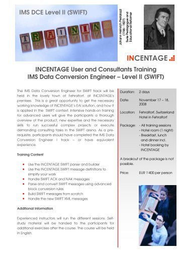 information about the IMS Advanced course for - Incentage AG