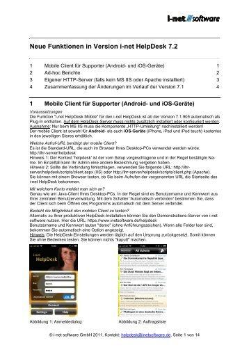 Neue Funktionen in Version i-net HelpDesk 7.2 - i-net Software