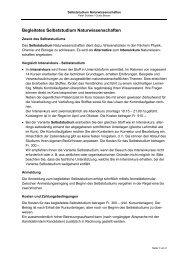 Information und Ablauf Selbststudium