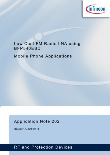 AN202 - Low Cost FM Radio LNA using BFP540ESD - Infineon