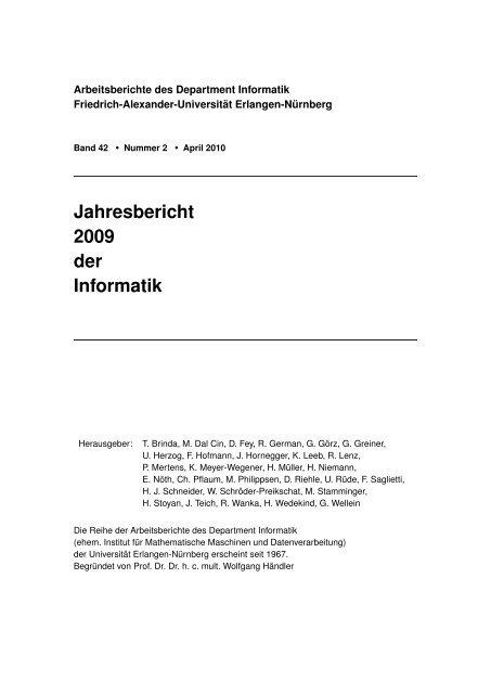 Jahresbericht 2009 der Informatik - Dept. of Computer ...