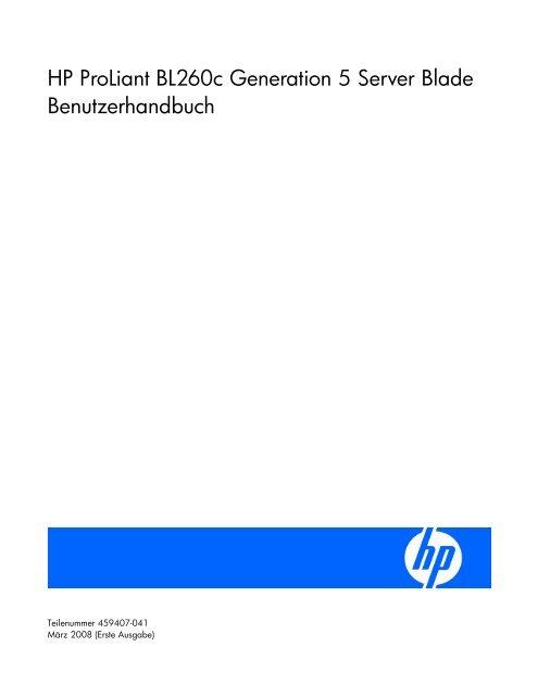 HP ProLiant BL260c Generation 5 Server Blade ... - Hewlett Packard