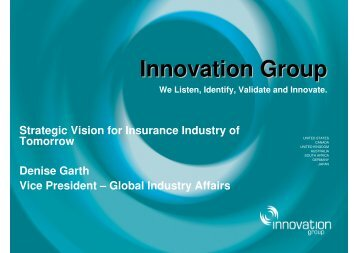 strategic vision for insurance industry of tomorrow - Innovation Group