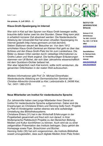 INS-Presse 04.07.12 - Institut für niederdeutsche Sprache e.V.