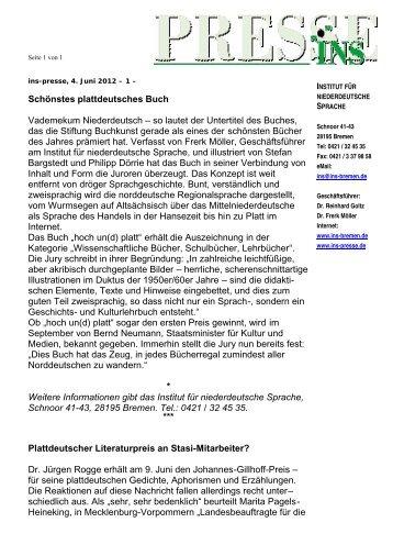 INS-Presse 04.06.12 - Institut für niederdeutsche Sprache e.V.