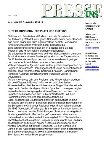 INS-Presse 18.11.11 - Institut für niederdeutsche Sprache e.V.