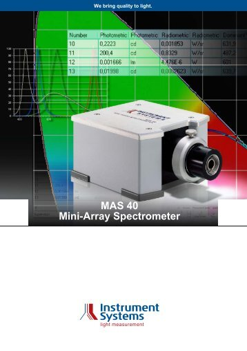 MAS 40 Mini-Array Spectrometer - Instrument Systems