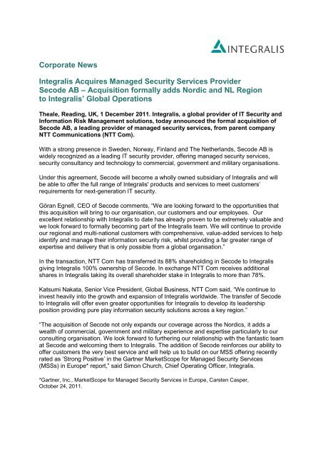 Integralis Acquires Managed Security Services Provider Secode AB