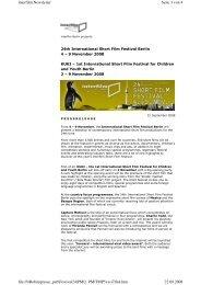 Program of the 24th International Short Film Festival - Interfilm Berlin
