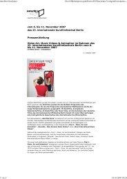 Pressemitteilung Video Art, Music Videos ... - Interfilm Berlin