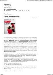 Press Release Festival Focus: Documentary - Interfilm Berlin