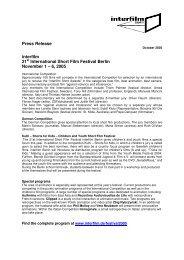 Pressrelease in pdf format - Interfilm Berlin
