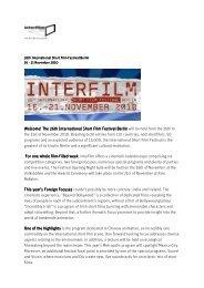 Welcome! The 26th International Short Film Festival ... - Interfilm Berlin