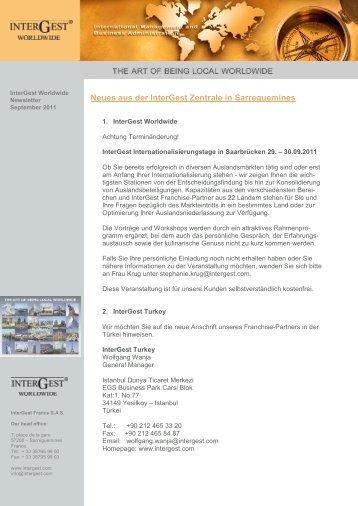 2011 / 09 Newsletter InterGest Worldwide