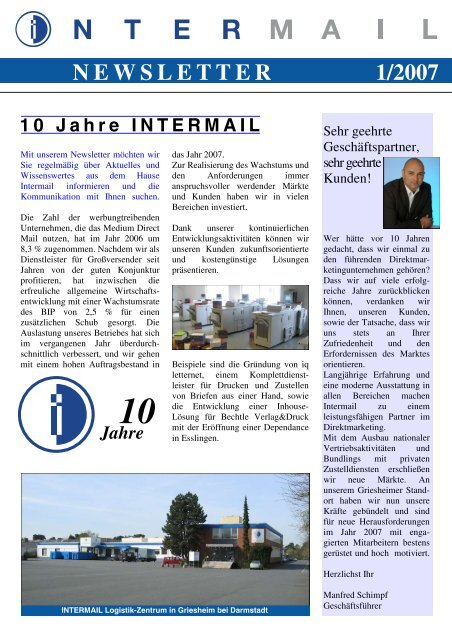 N E W S L E T T E R 1/2007 - INTERMAIL Direktmarketing