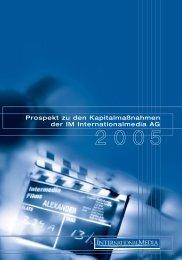 Prospekt zu den Kapitalmaßnahmen der IM Internationalmedia AG