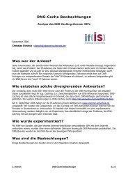 DNS-Cache Beobachtungen - Institut für Internet-Sicherheit