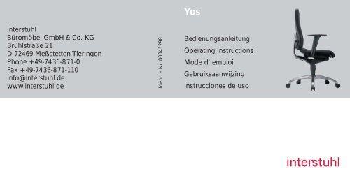 Bedienungsanleitung Operating instructions Mode d ... - Interstuhl