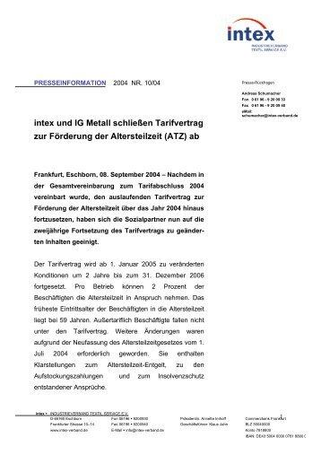 intex und IG Metall schließen Tarifvertrag zur Förderung ... - intex eV