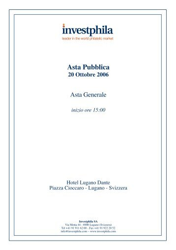 Catalogo 3 Asta Generale - parte 1 - Investphila