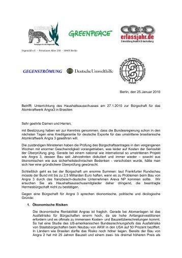 Brief an den Haushaltsausschuss - ippnw