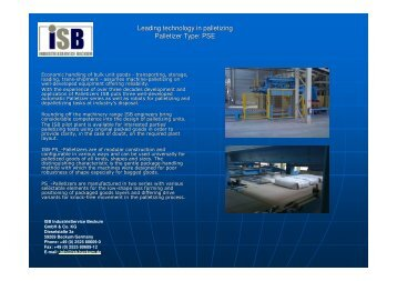 Leading technology in palletizing  Palletizer Type: PSE - ISB ...